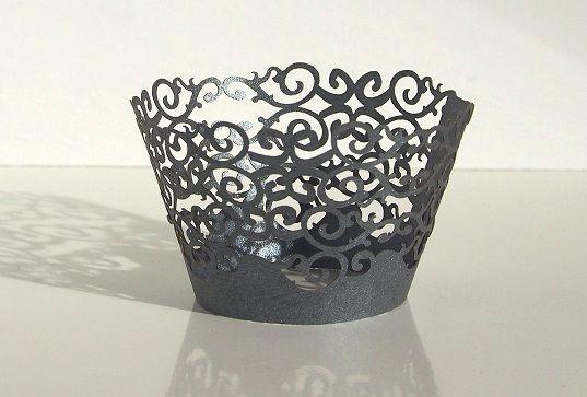 Košíček na muffin, cup cake - šedá - 12ks