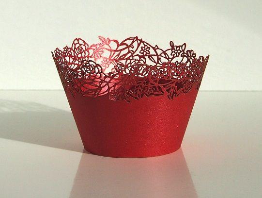 Košíček na muffin, cup cake - červená - 12ks